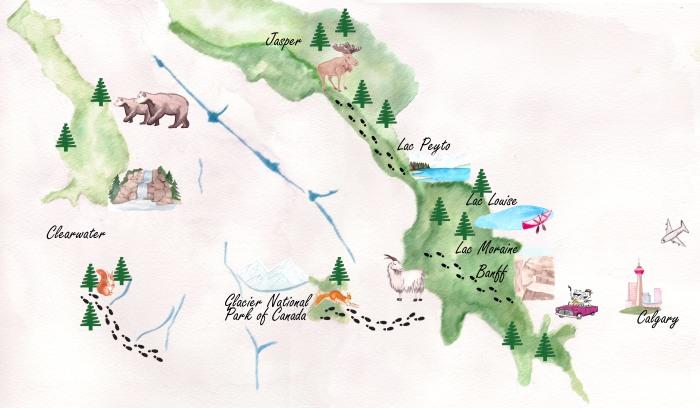 Carte voyage rocheuses juin 2018